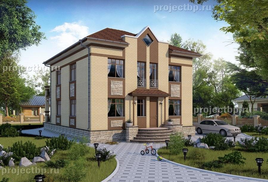 Купить проект двухэтажного дома 9x11 с террасой и балконом с.